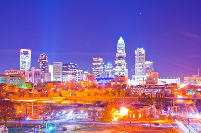 Charlotte evening cityscape. Financial district uptown in charlotte north carolina, a.k.a queen city stock image