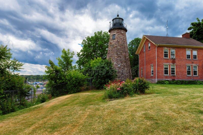 Charlotte Genesee Lighthouse Lake Ontario i Rochester arkivfoton