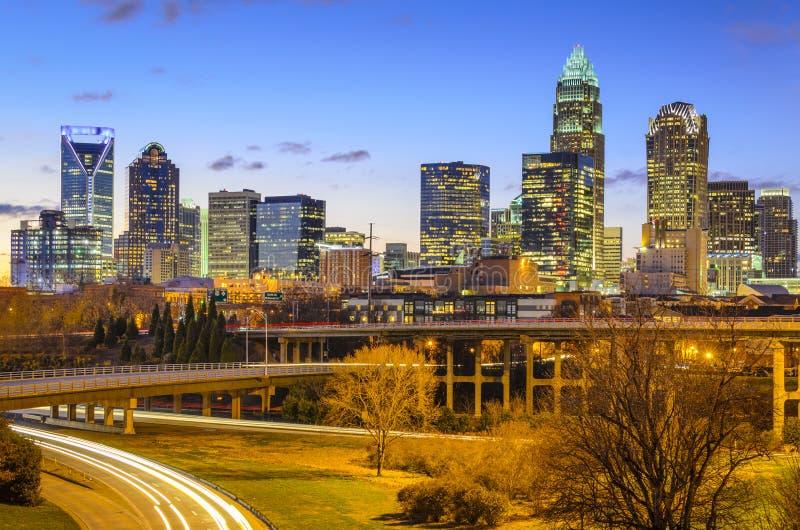 Charlotte, het Noorden Carolina City Skyline stock afbeeldingen