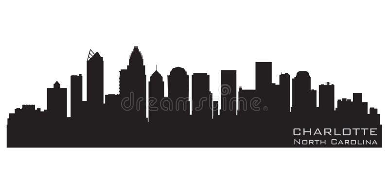 Charlotte, het Noorden Carolina City Skyline Gedetailleerd vectorsilhouet royalty-vrije illustratie