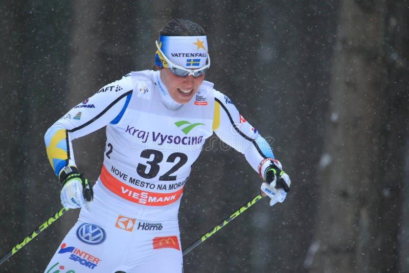 Charlotte Kalla - przecinającego kraju narciarstwo zdjęcia royalty free