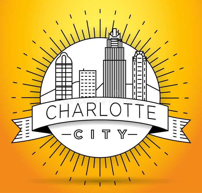 Charlotte Linear City Skyline mínima con diseño tipográfico ilustración del vector