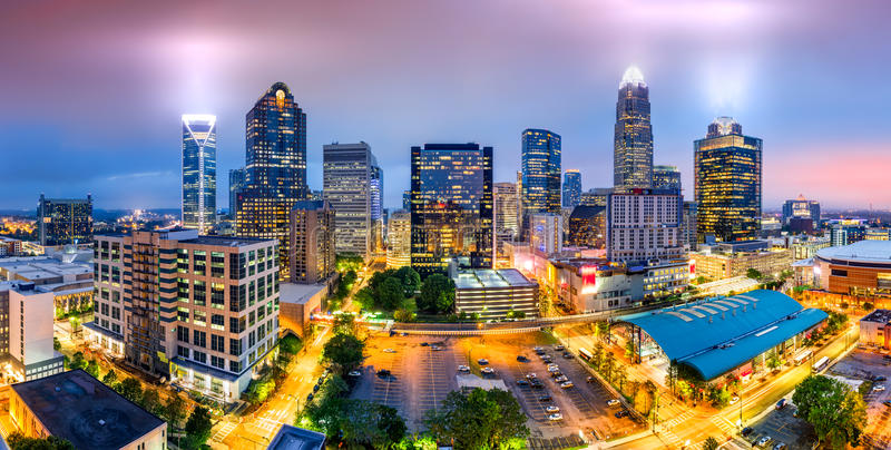 Charlotte, NC skyline on a foggy evening. Aerial view of Charlotte, NC skyline on a foggy evening. Charlotte is the largest city in the state of North Carolina royalty free stock photo