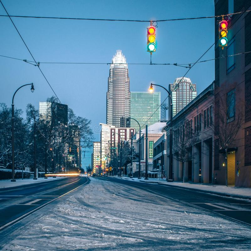 Charlotte nc usa skyline during and after winter snow storm in j. Anuary stock photo