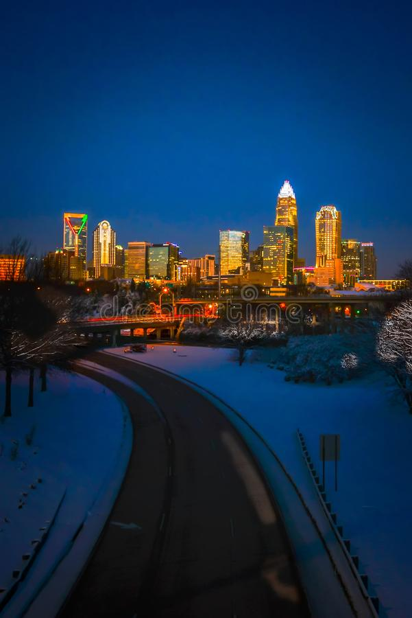 Charlotte nc usa skyline during and after winter snow storm in j. Anuary royalty free stock image