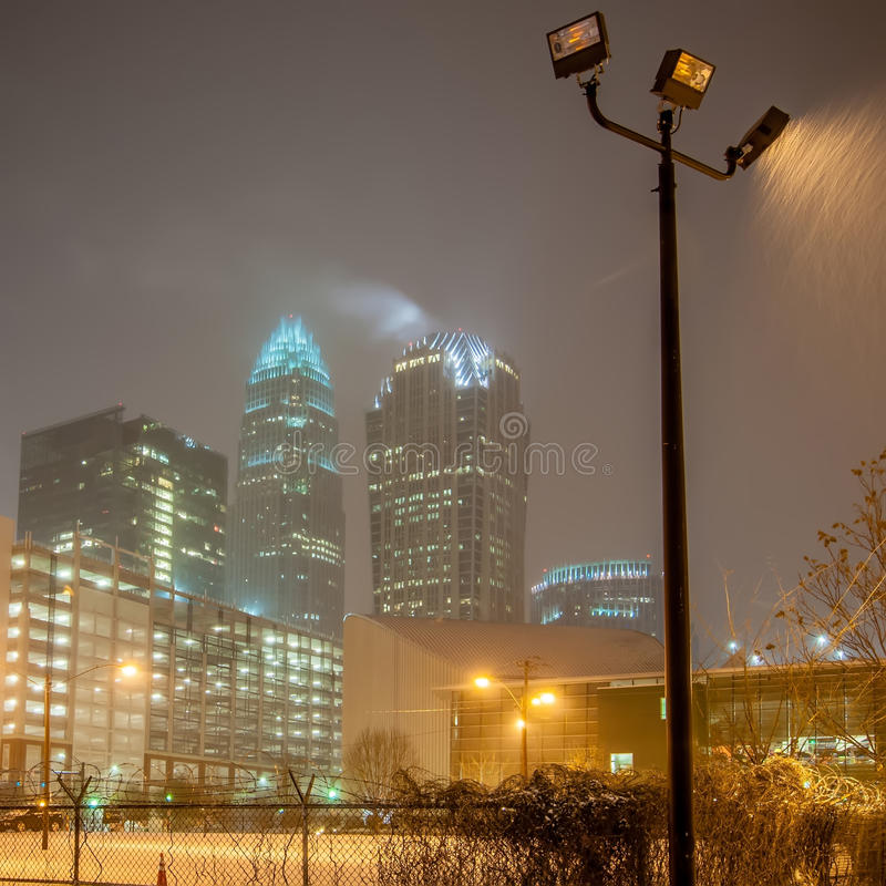 Charlotte nc usa skyline during and after winter snow. Storm in january stock images
