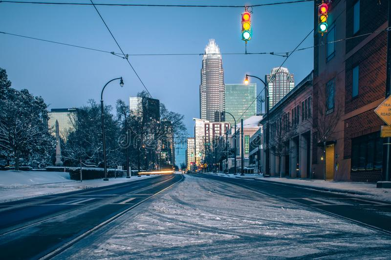 Charlotte nc usa skyline during and after winter snow storm in j. Anuary stock photography