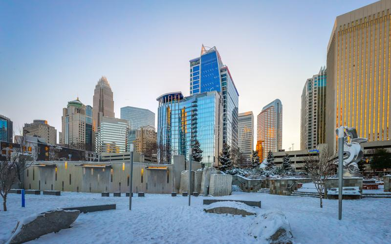 Charlotte nc usa skyline during and after winter snow storm in j. Anuary stock photos