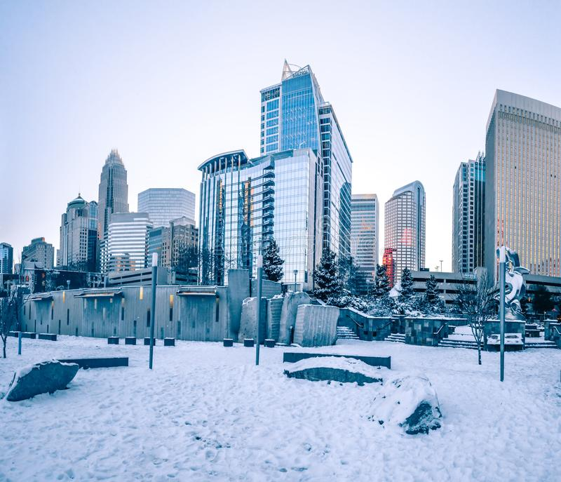 Charlotte nc usa skyline during and after winter snow storm in j. Anuary stock image