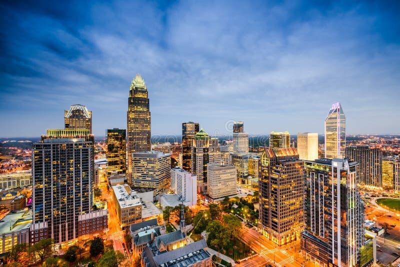 Charlotte norr Carolina Skyline royaltyfri foto
