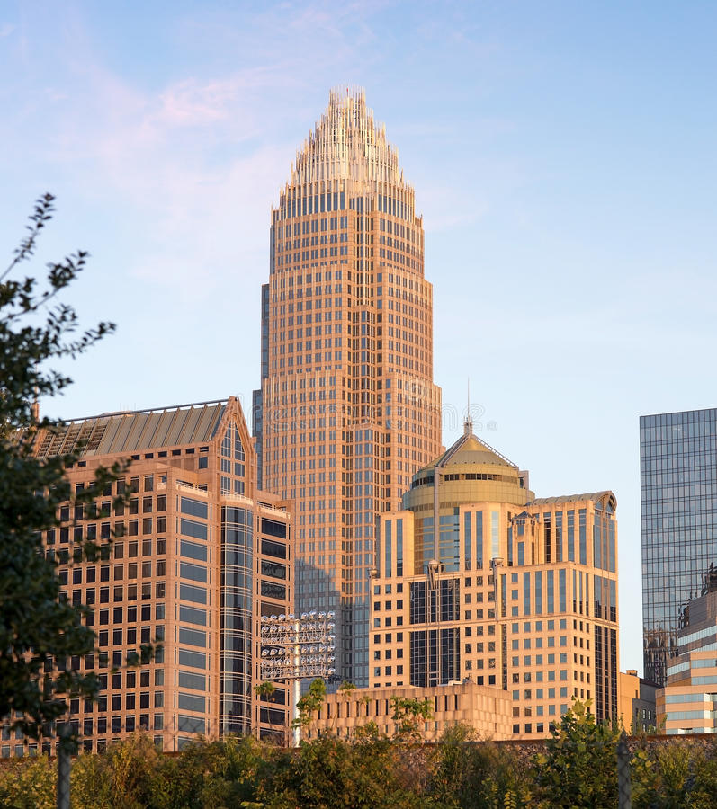 Charlotte North Carolina Skyline. Skyline of Uptown Charlotte North Carolina featuring the Bank of America building on a sunny day with blue skies royalty free stock images