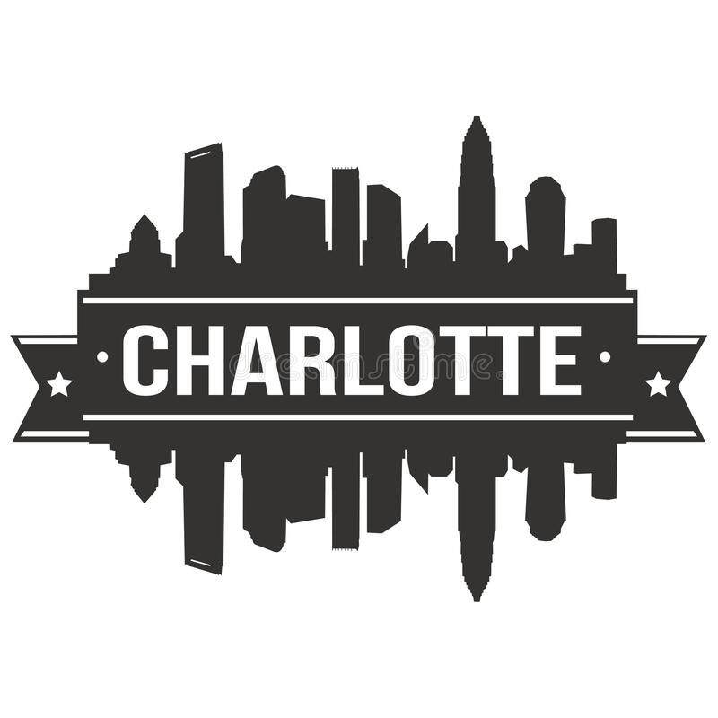 Charlotte North Carolina United States de la plantilla Editable de la silueta de Art Design Skyline Flat City del vector del icon fotografía de archivo