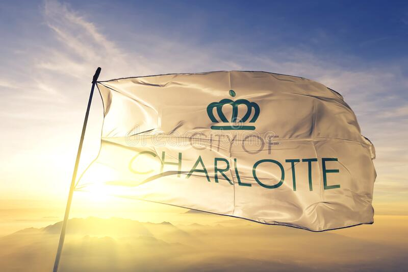 Charlotte of North Carolina of United States flag waving on the top. Charlotte of North Carolina of United States flag waving stock photo