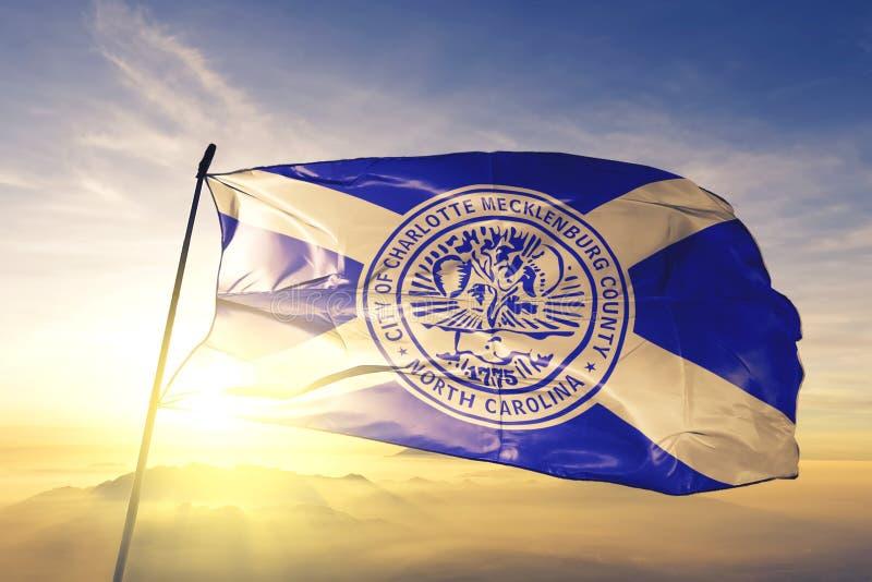 Charlotte of North Carolina of United States flag waving on the top. Charlotte of North Carolina of United States flag waving stock images