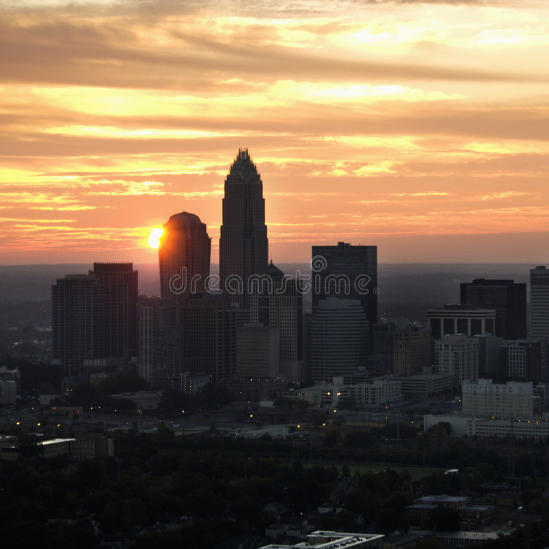 Charlotte, orizzonte di NC. fotografia stock libera da diritti