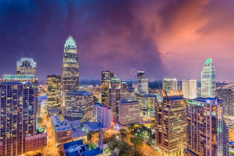 Charlotte, Pólnocna Karolina linia horyzontu zdjęcie stock