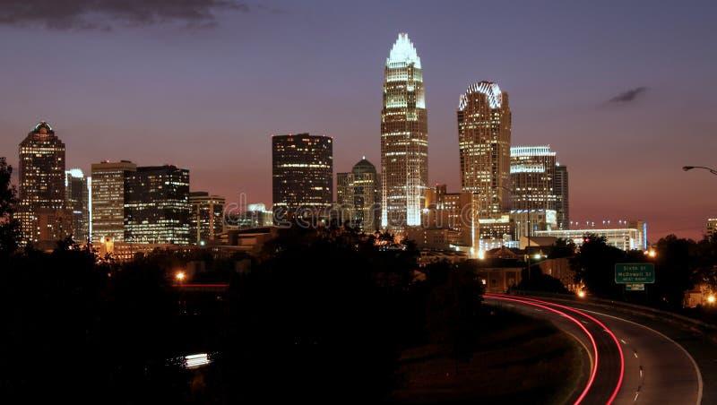 Charlotte, skyline do NC fotos de stock