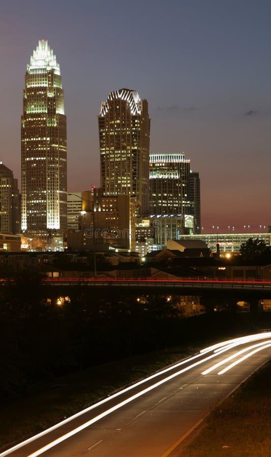 Charlotte, skyline do NC fotografia de stock royalty free