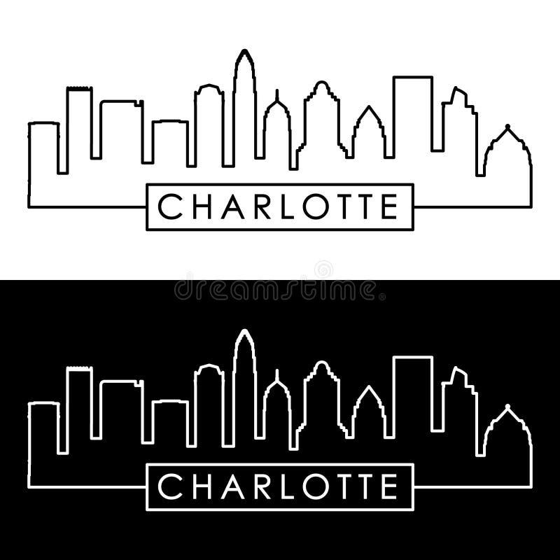 Charlotte Skyline estilo linear ilustración del vector