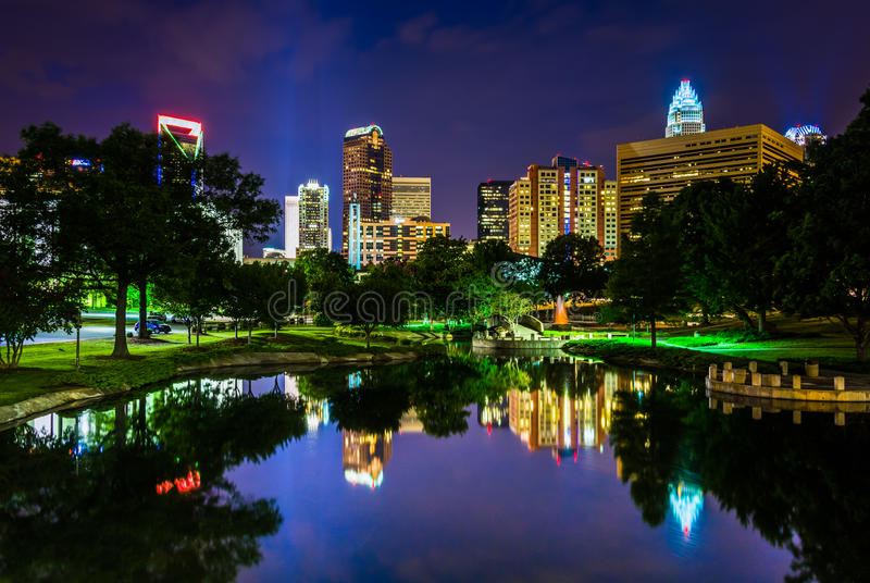 The Charlotte skyline seen at Marshall Park, in Charlotte, North. Carolina stock photography