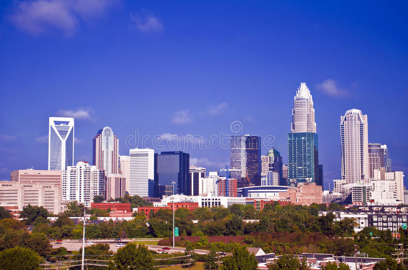 Charlotte uptown cityscape. Financial district uptown in charlotte north carolina, a.k.a queen city royalty free stock images