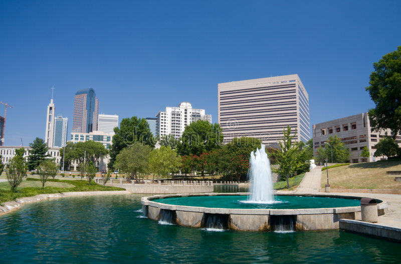 Charlotte Water Fountain stock photography
