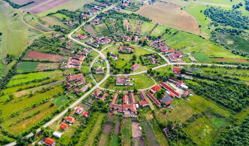 Charlottenburg, round village in Banat, Romania stock photos