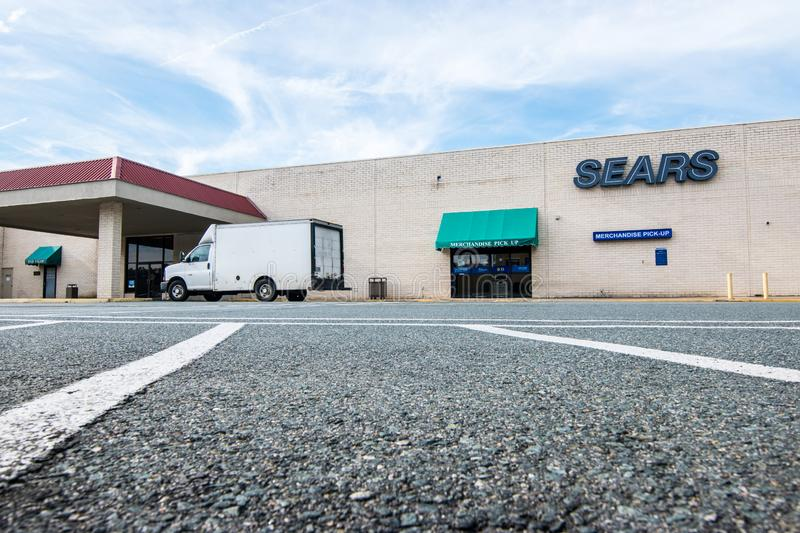 Bankrupt Sears retail store in mall. Charlottesville , Virginia United States Sears retail store closes after bankruptcy stock images