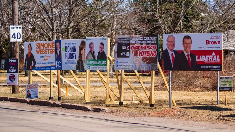 Election signs of political parties and MMP referendum for the provincial election 2019 in Prince Edward Island stock images
