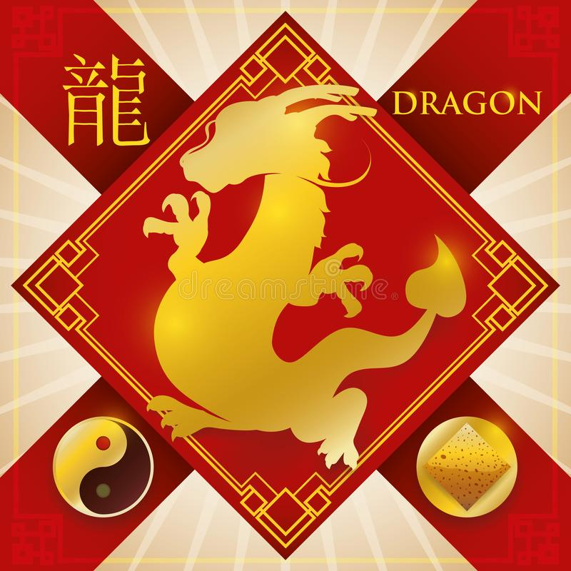 Charm with Chinese Zodiac Dragon, Earth Element and Yang Symbol, Vector Illustration. Red rhombus charm and ribbons for good luck and golden silhouette of royalty free illustration
