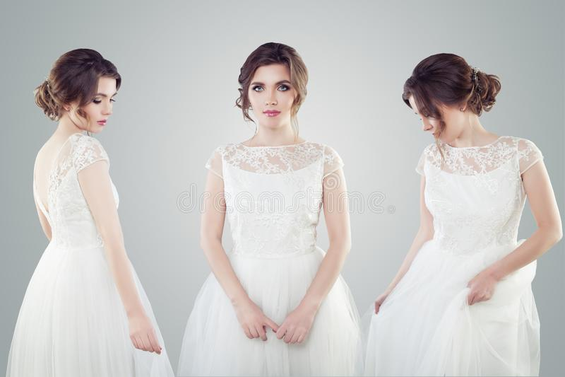 Charma bruden för ung kvinna i den vita bröllopsklänningståenden Härlig kvinnlig modell med makeup och den brud- frisyren royaltyfria foton