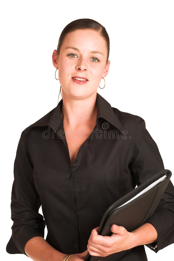 Charmaine Shoultz #1. Business woman dressed in a black shirt. Holding a file royalty free stock image