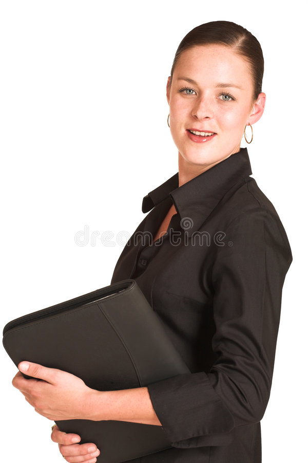 Charmaine Shoultz #1. Business woman dressed in a black shirt. Holding a file royalty free stock photography
