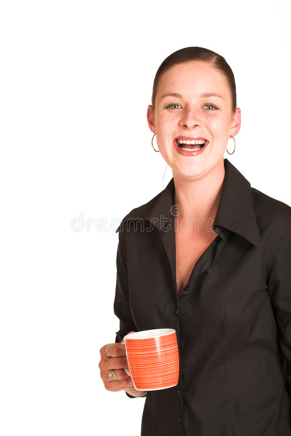 Charmaine Shoultz #19. Business woman dressed in a black shirt, holding an orange coffee mug. Copy space stock photography