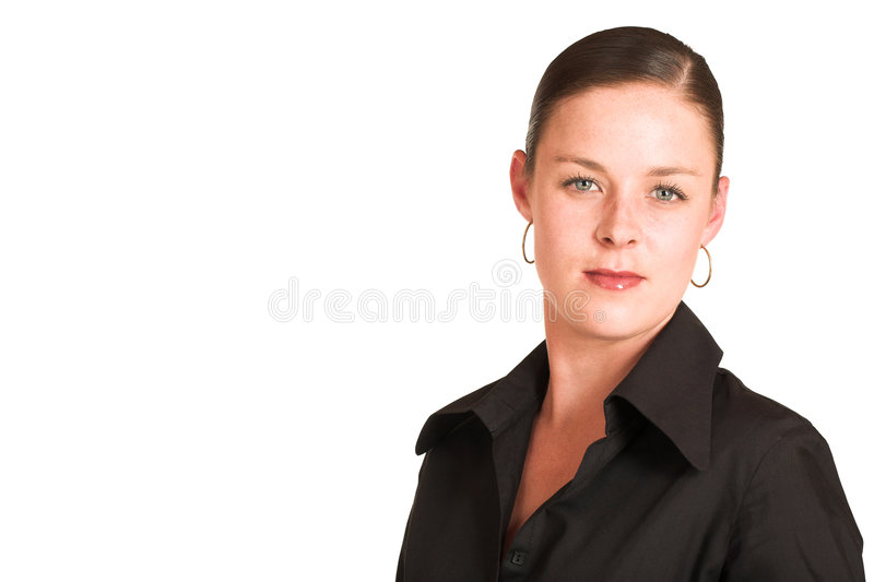 Charmaine Shoultz #3. Business woman dressed in a black shirt. Copy space stock photos