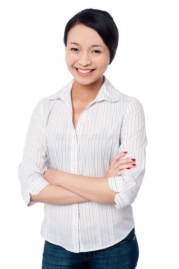Charmant Aziatisch meisje, toevallig portret royalty-vrije stock foto's