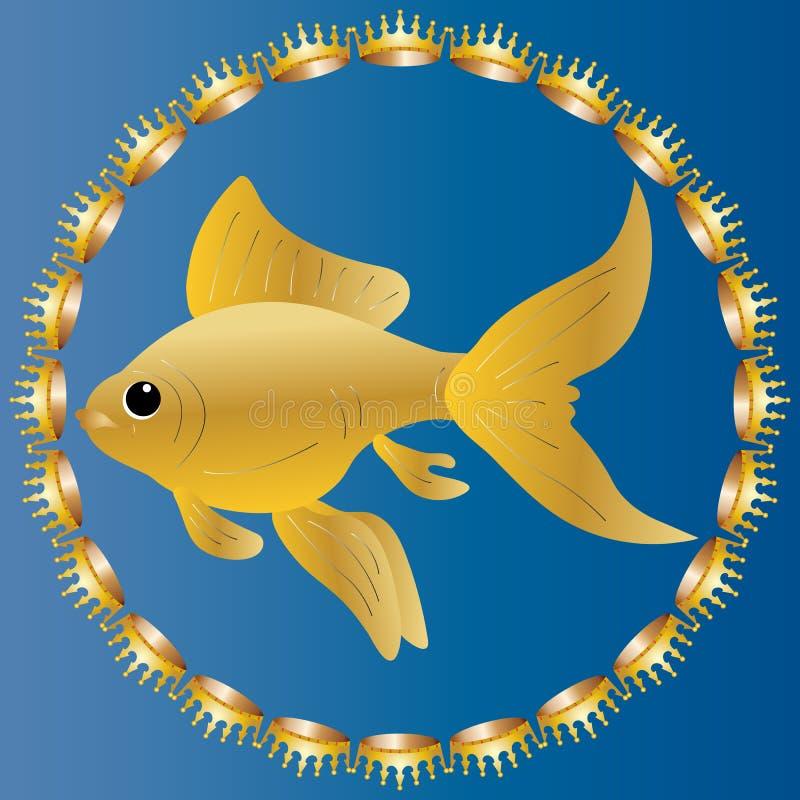 Charmante die goudvis door kostbare kronen wordt omringd Realistisch beeld op een blauwe achtergrond de kleur van zeewater vector illustratie