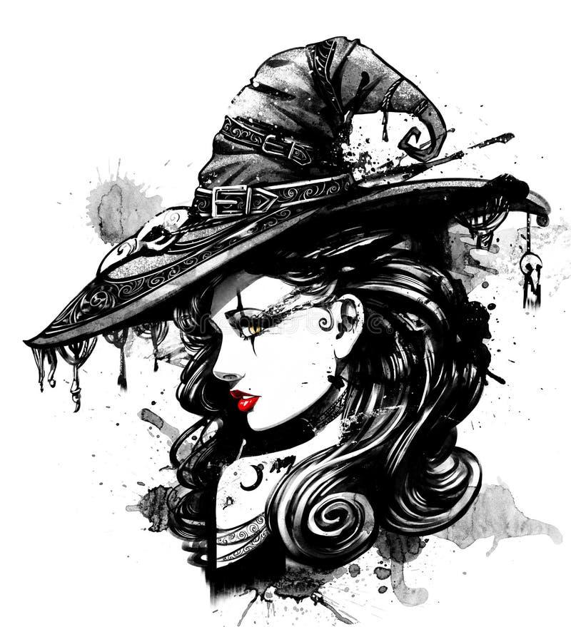 Charmante heks in grote buitensporige hoed stock illustratie