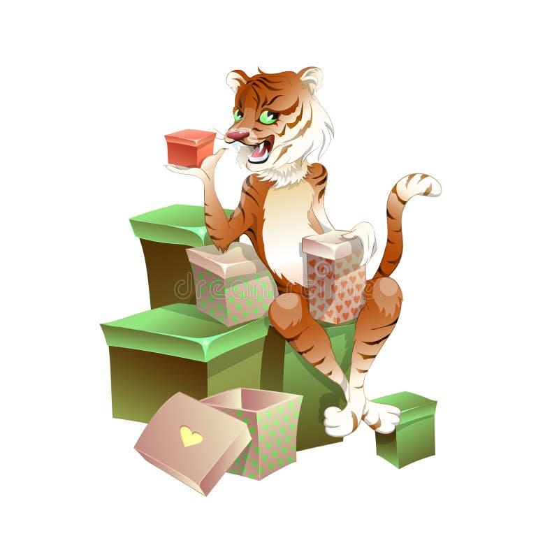 Charmante tijgerzitting op dozen met giften Hij houdt een speciale gift vector illustratie