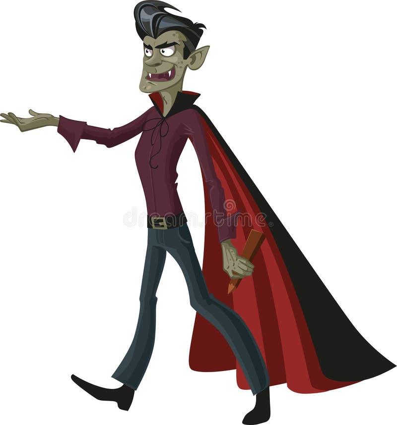 Charmante vampier met een espstaak stock illustratie