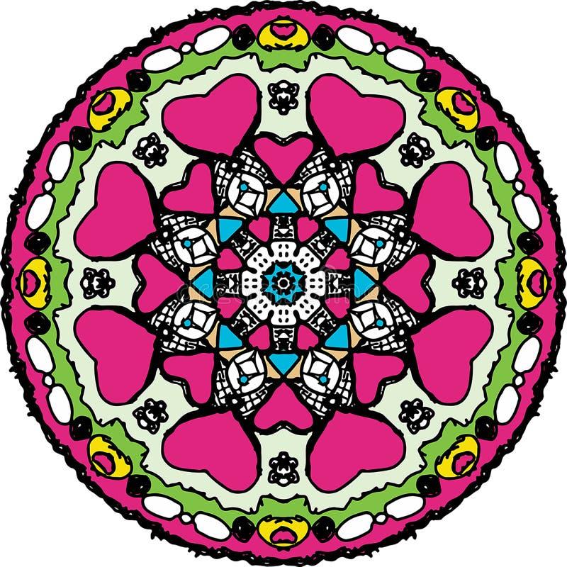 Charmat färga den runda mandalaen för hjärta vektor illustrationer
