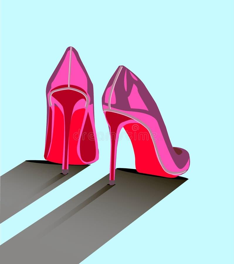 Charme de femme de chaussures de Louboutin avec le pied rose du plat sur le fond bleu les chaussures plates conçoivent illustration libre de droits
