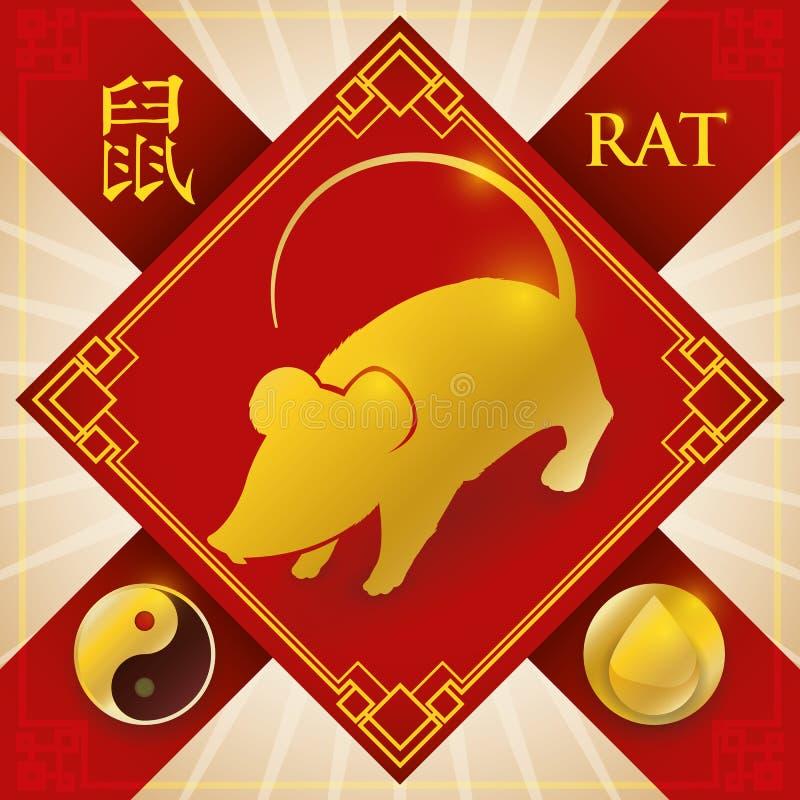Charme mit chinesischer Tierkreis-Ratte, Wasser-Element und Yang Symbol, Vektor-Illustration lizenzfreie abbildung