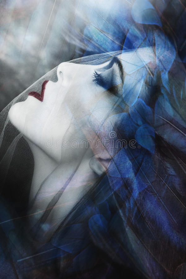 Charmed fantasy woman. Beautiful fantasy woman under veil portrait, composite photo royalty free stock photography