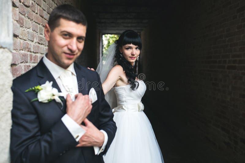Charmerend Europees paar die een grote tijd in het binnenland hebben stock afbeeldingen