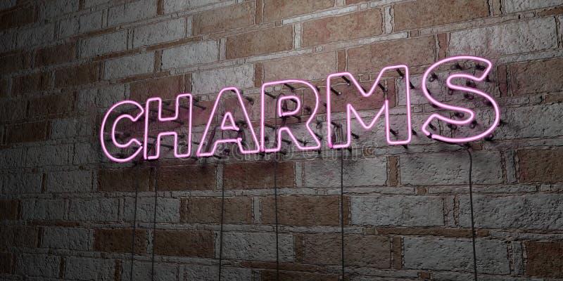 CHARMES - Gloeiend Neonteken op metselwerkmuur - 3D teruggegeven royalty vrije voorraadillustratie stock illustratie