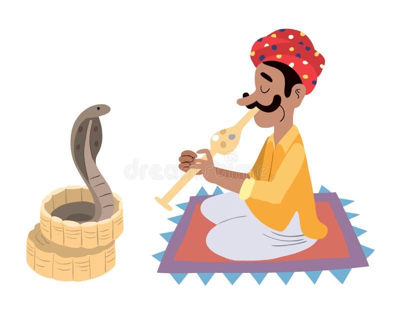 Charmeur de serpent indien illustration de vecteur