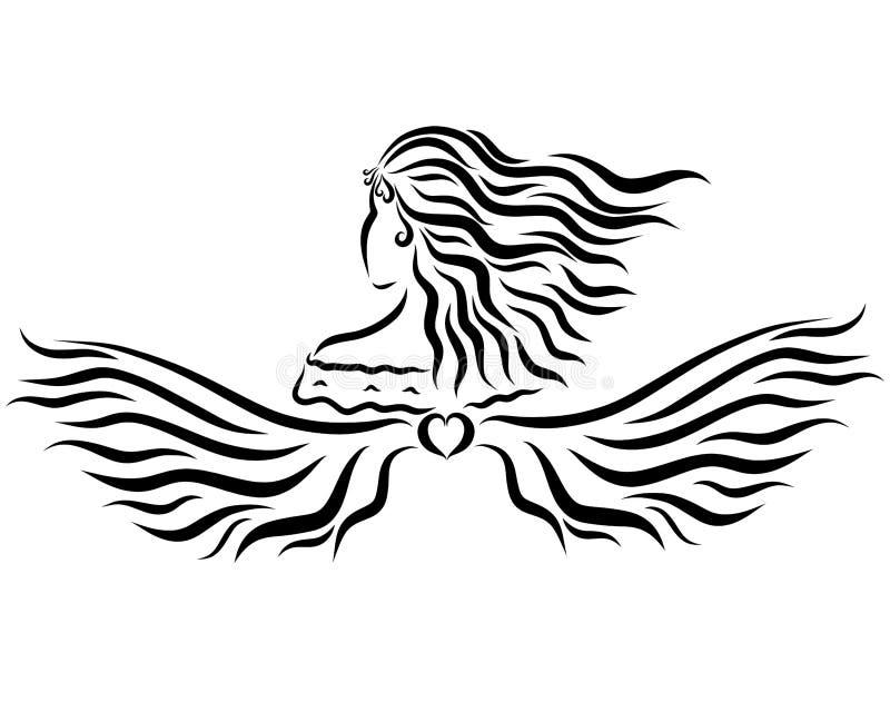 Charmig dam med vingar, fantasi och skönhet royaltyfri illustrationer