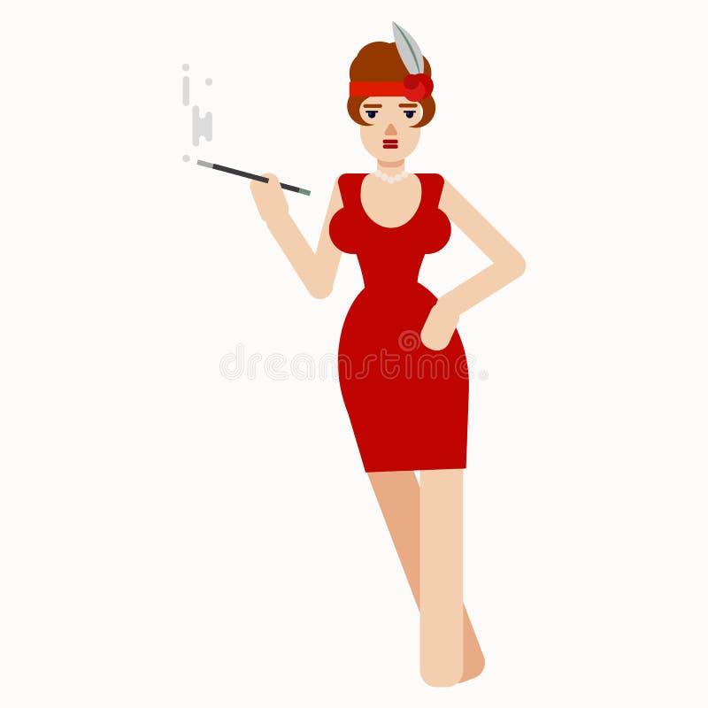 Charmig dam som röker munstycket vektor royaltyfri illustrationer