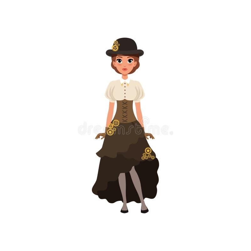 Charmig flicka i steampunkdräkt Kvinna i blus, kjol med brådska, korsett och plommonstop med kugghjul utsmyckad dräkt royaltyfri illustrationer